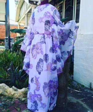 Purple butterfly sleeve chiffon