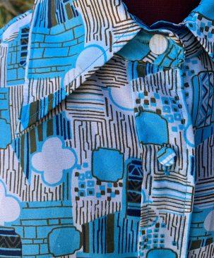 70's blue blouse